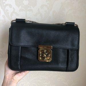 Goatskin Medium Elsie Shoulder Bag Black